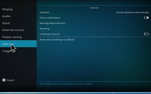 How to enable unknown sources in kodi step 4 screenshot