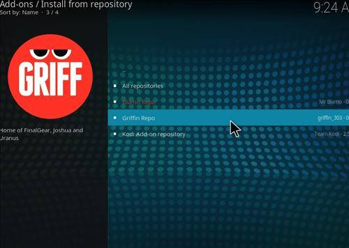 Step 12 Click on Grffin Repository
