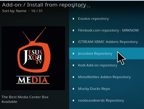 Step 12 Click on JesusBox Repository