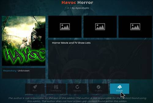 Havoc Horror Install completed