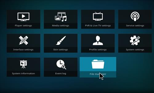click on the folder icon file manager for kodi