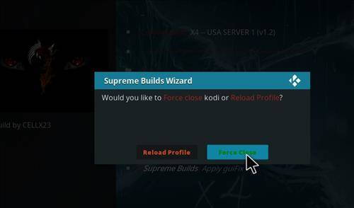 force closing kodi