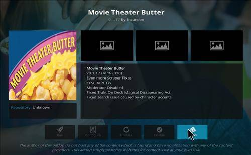 Installation complete of movie theater butter addon for kodi