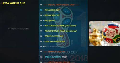 Overview of sports classic kodi addon