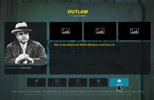 Click on install to complete installation of outlaw kodi addon