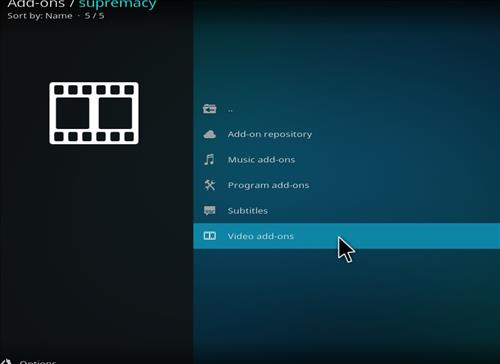 click on video addons for supremacy addon